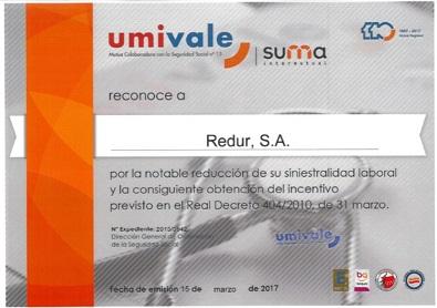 El Ministerio de Empleo y Seguridad Social premia al Grupo Redur por su labor en Prevención